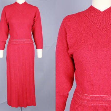 """1940s Magenta Red """"KIMS"""" Knit Set   Vintage 40s Wool Two Piece Sweater & Skirt   small by RelicVintageSF"""