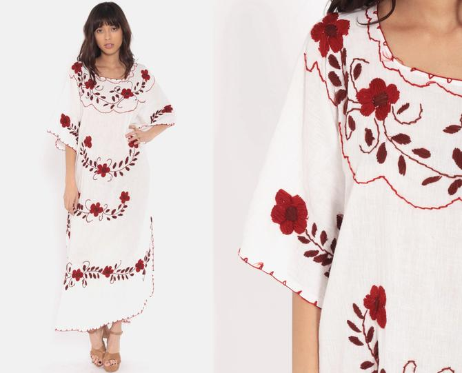 2205201b2f3 Boho Hippie Dress Mexican Kimono Sleeve EMBROIDERED 70s Caftan Maxi Ethnic  Gauze Festival Tent Trapeze Bohemian
