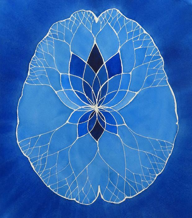 Big Blue Lotus Brain  -  original watercolor painting - neuroscience art by artologica