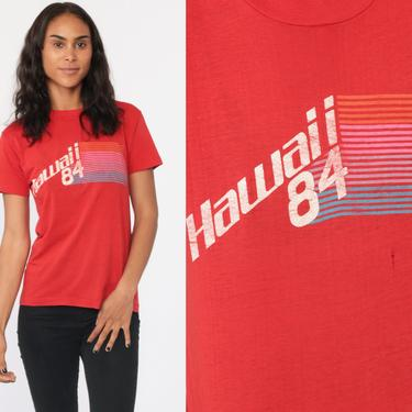 1984 Hawaii Shirt 80s Red Retro T Shirt Hawaiian Burnout TShirt 80s Vintage Graphic Print Paper Thin Tee Paper Thin 1980s Top Small Medium by ShopExile