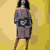 Off shoulder silk ankara print dress by GLAMMfashions