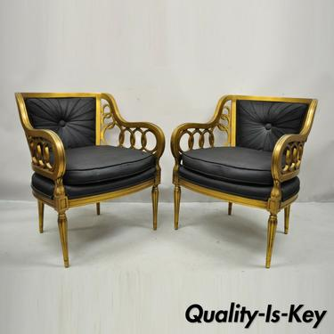 Vintage Hollywood Regency Gold Interlocking Ring Lounge Arm Chairs - a Pair