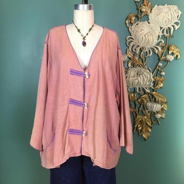 1990s hippie blouse, vintage 90s blouse, boho style, bohemian shirt, size large, toggle closure, boxy fit, tribe 2 people united, ethnic by BlackLabelVintageWA