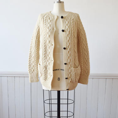 Irish Cable Knit Wool Cardigan | Fishermans Sweater | Aran Cardigan | S by wemcgee