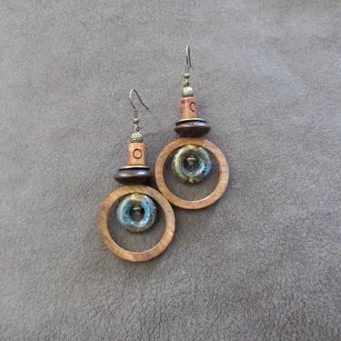 Wooden earrings, Afrocentric hoop earrings, mid century modern earrings, African earrings, bold statement, unique ethnic earrings, blue by Afrocasian