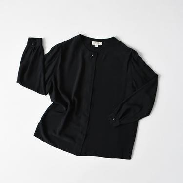 vintage black silk shirt, collarless button down blouse, size L by ImprovGoods