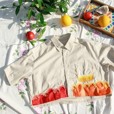 80s Tan Orange Yellow Hand Embroidered Crop Top Vintage Reworked Blouse by AppleBranchesVintage