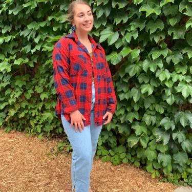Red and Blue Flannel Shirt by krispyfringe