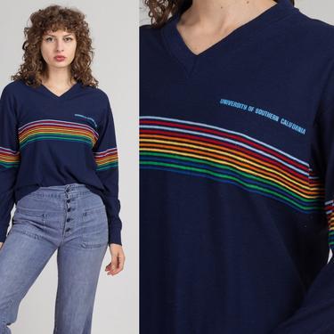70s 80s Rainbow Striped USC Shirt - Extra Large   Vintage Navy Blue Retro Long Sleeved Graphic University Tee by FlyingAppleVintage
