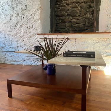 Mid century coffee table Danish Modern travertine coffee table mid century occasional table by VintaDelphia
