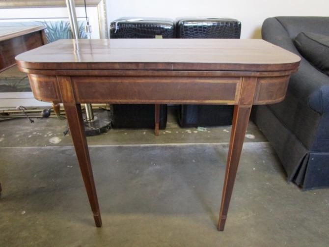 ANTIQUE FLIP TOP CONSOLE IN MAHOGANY WITH INLAY DETAILS  AS IS