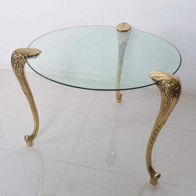 Regency Moderne Round Glass Dining Table Sculptural Cabriole Legs in Brass by AMBIANIC