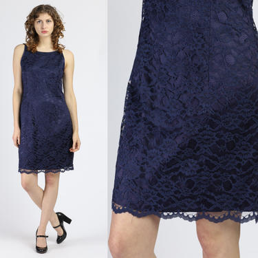 Vintage Navy Blue Lace Scott McClintock Mini Dress - Large   80s Sleeveless Party Dress by FlyingAppleVintage