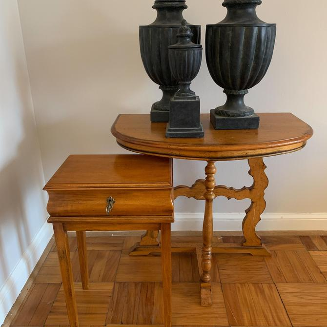 Vintage Demilune Side Table w/ Carved Legs