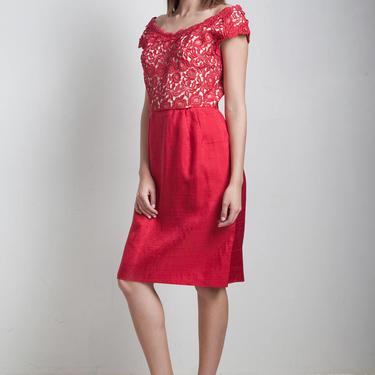 vintage 50s red cocktail dress off the shoulder floral lace silk skirt knee length M L MEDIUM LARGE by shoprabbithole