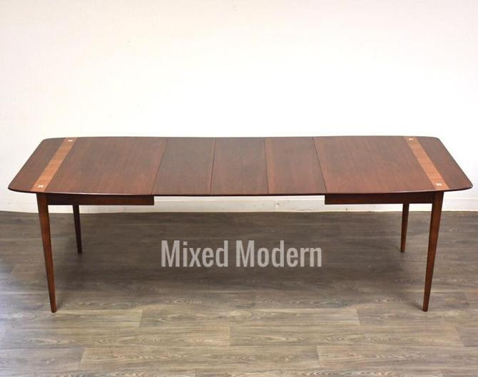 American of Martinsville Walnut Extendable Dining Table by mixedmodern1