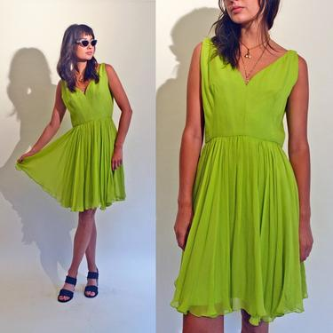 vintage 60s lime green dress 1960s silk chiffon 1950s short full skirt 50s cocktail party mcm chic 1960's s/m by levintagecult