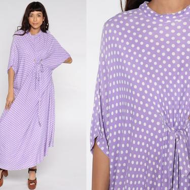 Hippie Caftan Dress 70s Maxi Boho Tent Purple Polka Dot Cocoon Dress 1970s Kimono Sleeve Bohemian Vintage Festival Small Medium Large xl by ShopExile