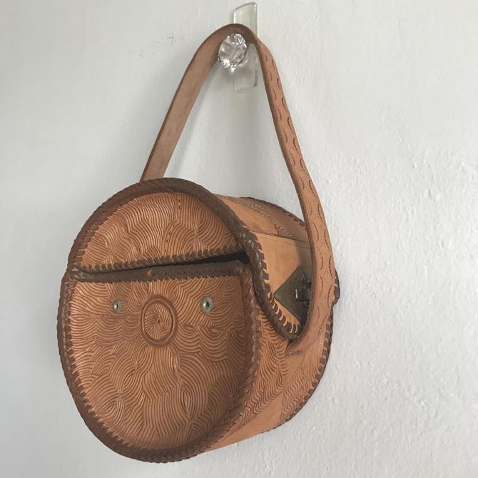 Very Unique 1940s Hand Tooled Western Purse Circular Design Unusual Vintage Western Wear Cowgirl by AmalgamatedShop