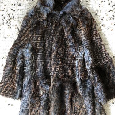 Vintage FENDI FF Zucca Print Reversible Fur MONOGRAM Womens Brown Black Blue Leather Trench Jacket Dress Coat - Wow!! by MoonStoneVintageLA