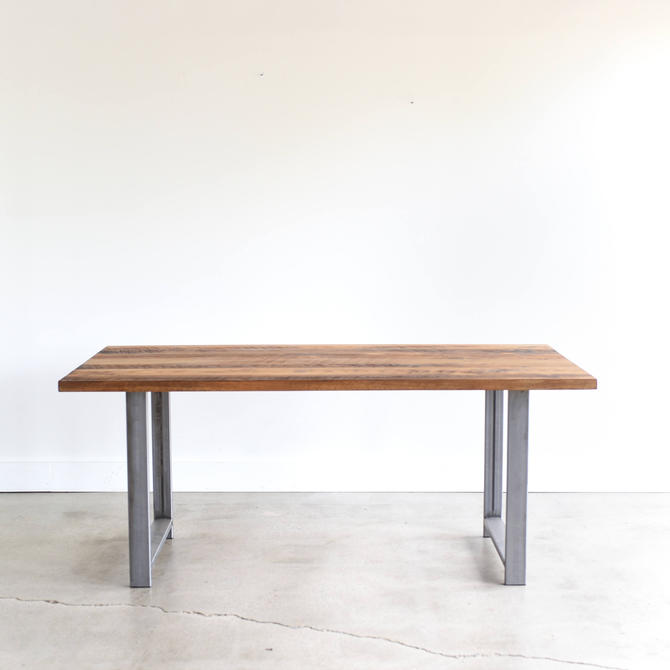 Industrial Dining Table / Reclaimed Wood and H-Shaped Metal Leg Kitchen Table by wwmake