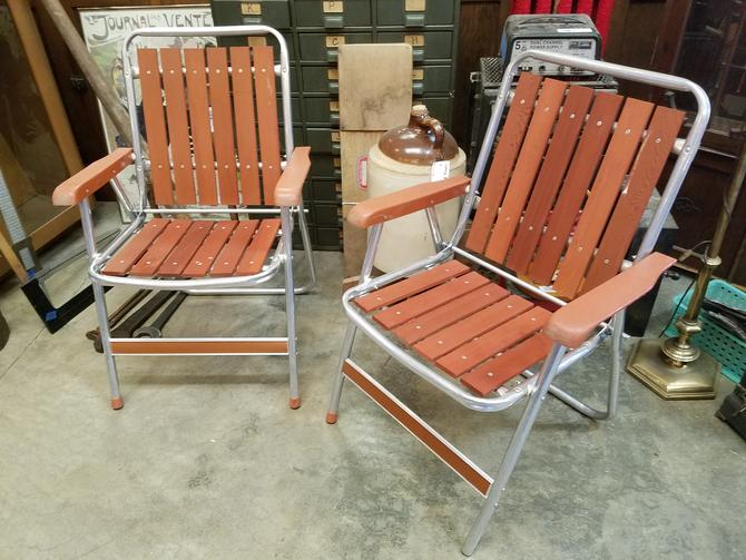 Vintage mid century folding aluminum and redwood chair set