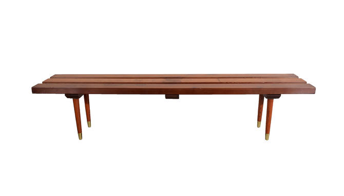 Slat Bench Cocktail Table Redwood Bench Mid Century Modern Nelson Style by HearthsideHome