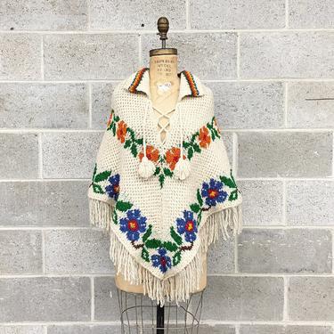 Vintage Poncho Retro 1970s Handknit + Beige + Floral Print + Fringe + Tassels + Bohemian + Hippie + One Size + Wool Cape + Womens Apparel by RetrospectVintage215