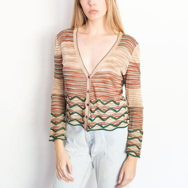 Vintage Missoni Zig Zag + Striped Knit Cardigan Sweater Button Up XS S V Neck 90s Y2K Turquoise Green Brown by backroomclothing