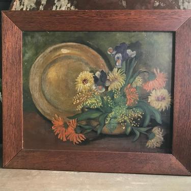 Antique Floral Oil on Board, Still Life Painting, Vase of Flowers, Arts and Crafts Era, Artwork, Signed, Oak Framed Art by JansVintageStuff