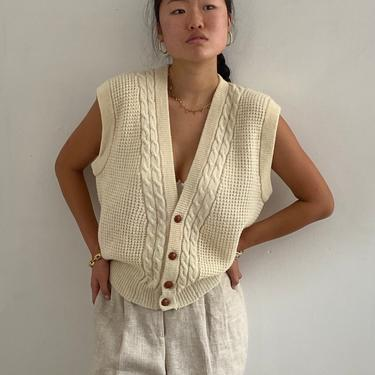90s Dior wool sweater vest / vintage Christian Dior ivory white soft wool cable knit button front boyfriend gilet sweater vest waistcoat | L by RecapVintageStudio
