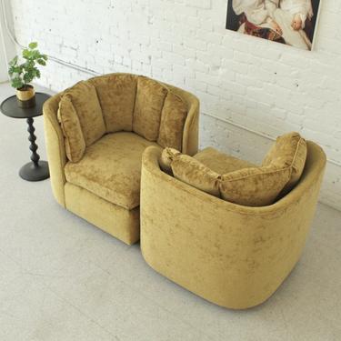 Golden Velvet Conversation Chair Modular Loveseat