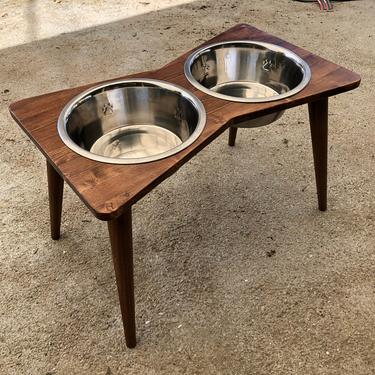 Mid Century Modern Elevated Dog Bowl Stand with Bowls by OrWaDesigns