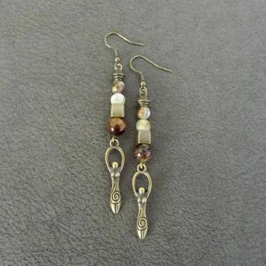 Goddess earrings, African statement earrings, Afrocentric earrings, agate tribal earrings, modern brass earrings, boho chic, female figure by Afrocasian