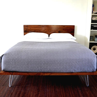 Platform Bed and Headboard on Hairpin Legs   Full Size Bed   Wood Bed   Mid Century Inspired   Minimal Design   by CasanovaHome