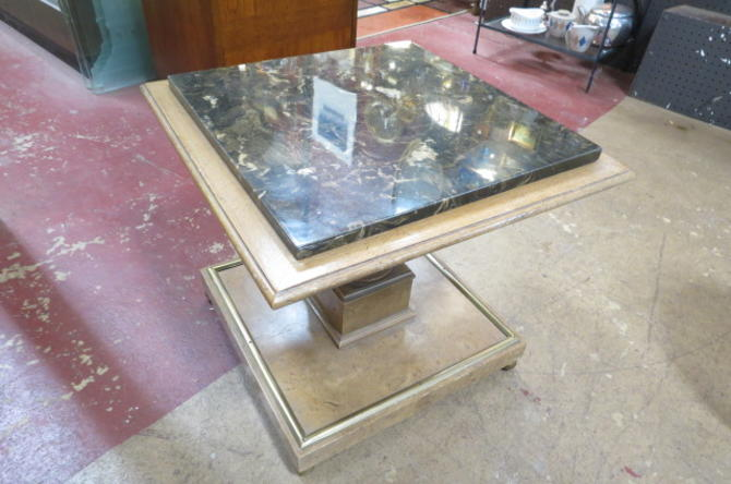 Vintage MCM marble top square pedestal table