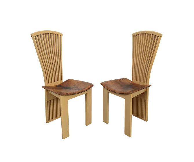 Pietro Constantini Italian Leather Dining Chairs Mid Century Modern by HearthsideHome