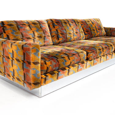 Baughman Style Selig Mid Century Multi-Color Houndstooth and Chrome Floating Sofa - mcm by ModernHill