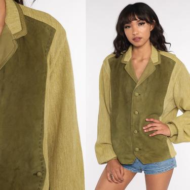 Green Leather Sweater Wool Boho Cardigan 70s Bohemian Suede Sweater Jacket Hippie Boho 1970s Button Up Grandpa Vintage Extra Large xl by ShopExile
