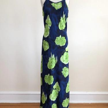 Blue and Lime Green Floral/Rose Print Maxi Dress - 1990s by LogansClothing