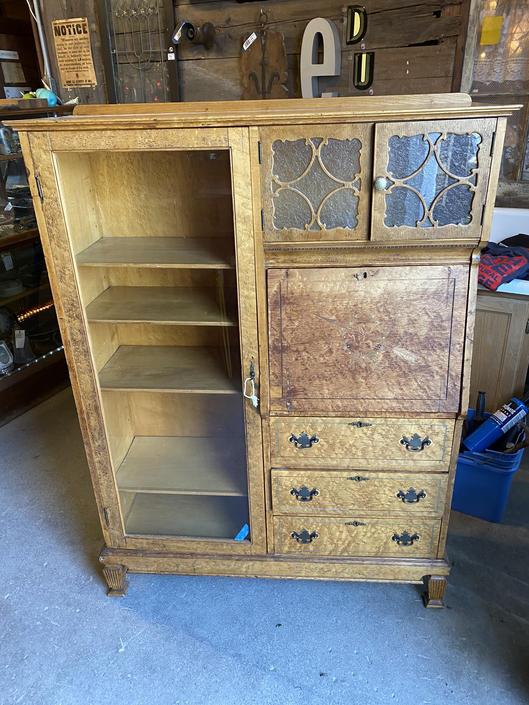 "Antique Birdseye Maple Secretary/Curio Cabinet 58""x42.5""x14""D"