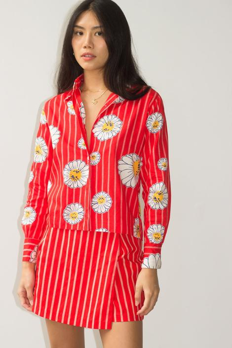 1970s Red Daisy Pinstripe Japanese Cotton Set by waywardcollection