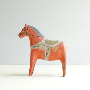 Vintage Dala Horse, Antique Dala Horse, Red Dala Horse, Dala Horse from Sweden, Folk Art Horse, Wooden Horse Figurine by LittleDogVintage