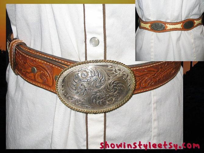 Vintage Western Circle Y Handmade Leather Cowgirl Belt, with Gold & Silver Montana Silversmiths Buckle, Size 32 by ShowinStyle