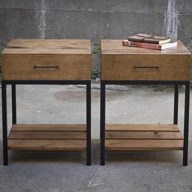 Wood and Steel Nightstands by EvansWoodshopDesign