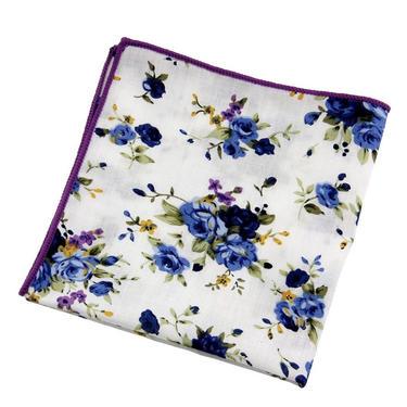 Men's White Floral Pocket SquareWedding Handkerchief, Groomsmen ,Father Gift, Boyfriend,Gift,Party,Vintage,White,Wedding Accesories by LookGreatWL