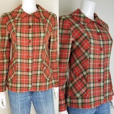 Vintage 70s Pendleton Blazer Sport Coat ~ Tartan Plaid Suit Jacket ~ 100% Wool ~ Princess Seams Peter Pan Collar Tapered Waist ~ Size Medium by SoughtClothier