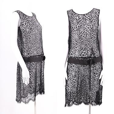20s black lace dress / vintage 1920s Art Deco flapper dress antique late 20s early 30s M by ritualvintage