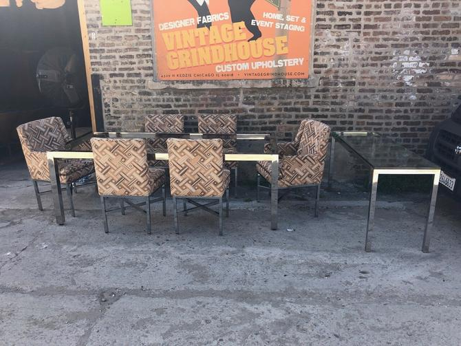 Vintage Mid Century Modern Milo Baughman 8 Piece Dining Set Flat Bar Chrome Dining and Sideboard Table and 6 Original Fabric Chairs