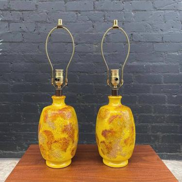 Mid-Century Modern Yellow Ceramic Table Lamps, c.1960's by VintageSupplyLA